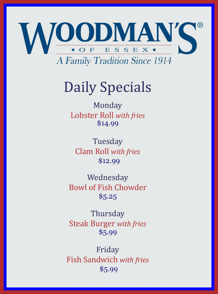 Daily Specials Woodmans Seafood Restaurant Essex Ma